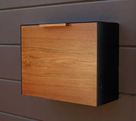 modern mailbox large teak and stainless steel mailbox by ceceworks - Modern Mailboxes
