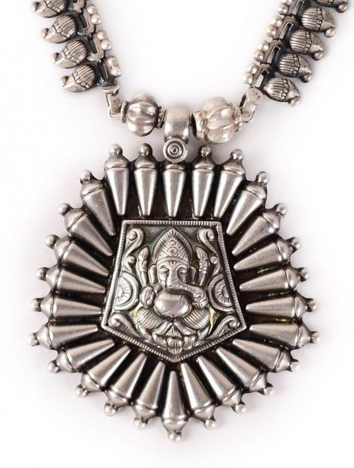 Lord Ganesh Paisley Silver Necklace