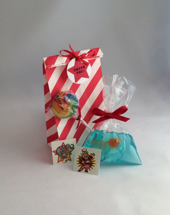 Carnival Party Bags: Circus favor bags with fish-in-a-bag soap, swirl lollipop, tattoos - Circus Party Favors, Carnival Party Supplies