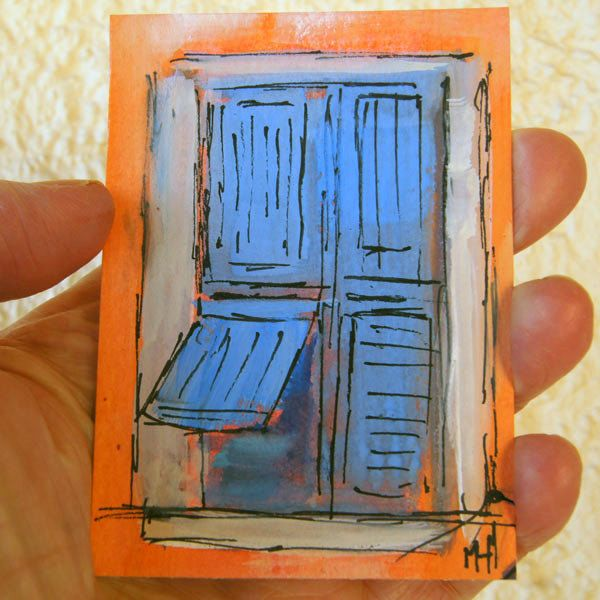 Original ACEO - Miniature art trading card, 2.5 by 3.5 in - L00013 Blue Shutters Provence gouache, landscape painting, SFA, by Marion Hedger by artbymarion on Etsy https://www.etsy.com/listing/217445797/original-aceo-miniature-art-trading-card
