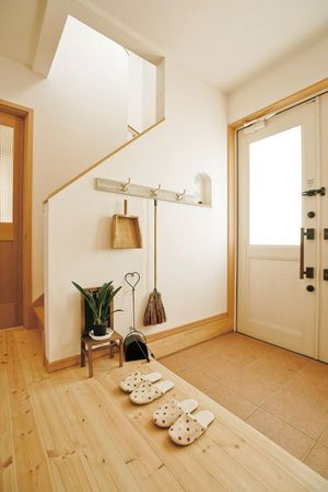 Typical entrance (genkan) in a Japanese house. Remove your shoes and put on a pair of house slippers. Keeps carpet and floors so much cleaner.