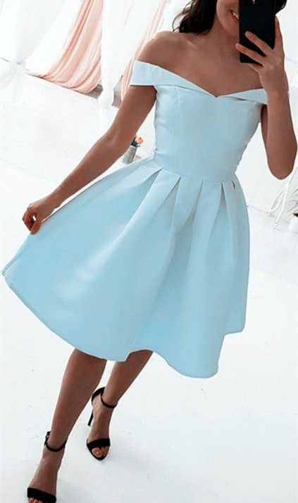 7e0a046ca231 Off Shoulder Simple Light Blue Party Dress