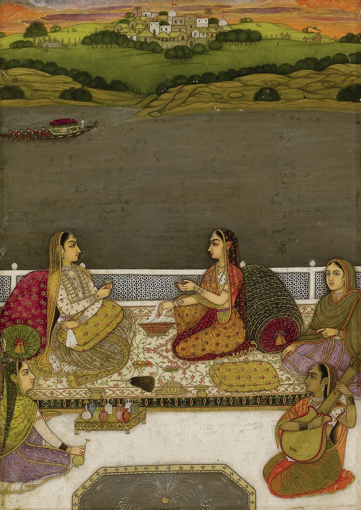 A PORTRAIT OF LADIES ON A TERRACE, MUGHAL, POSSIBLY LUCKNOW, INDIA, EARLY 18TH CENTURY Gouache heightened with gold on paper, depicting two female courtiers surrounded by attendants on a terrace within a lakeside landscape, laid down on an album page leaf: 26.5 by 17.3cm. painting: 20.2 by 14.2cm.