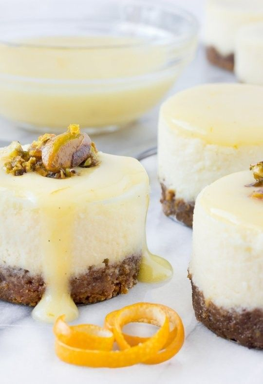 Goat cheese, honey & pistachio mini cheesecakes with Meyer lemon cream ...