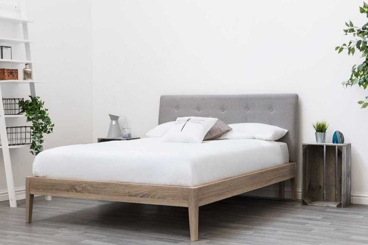Mobberley Modern Grey Headboard Solid Wooden Bed Frame - Double / King Size