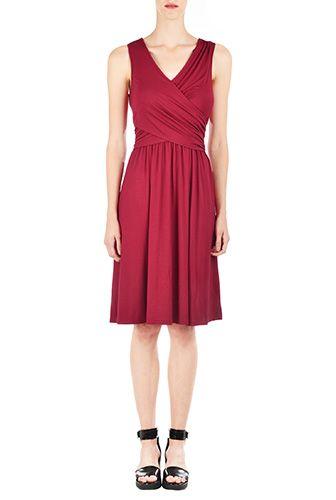 Knit Dresses, Knee-Length Dresses , crossover bodice dresses, hand wash dresses, jersey knit dresses, lightweight Dresses, raspberry red dresses, Ruched bodice Dresses, side zip dresses, sleeveless dresses, stretch Dresses, v-neck dresses, viscose spandex dresses