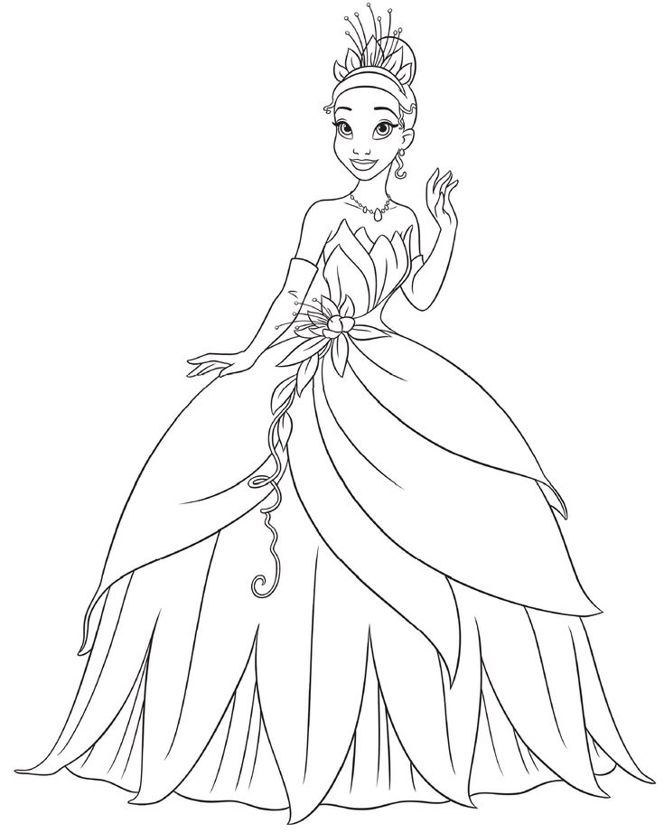 Disney Princess Coloring Pages Uk : Princess tiana coloring pages disney