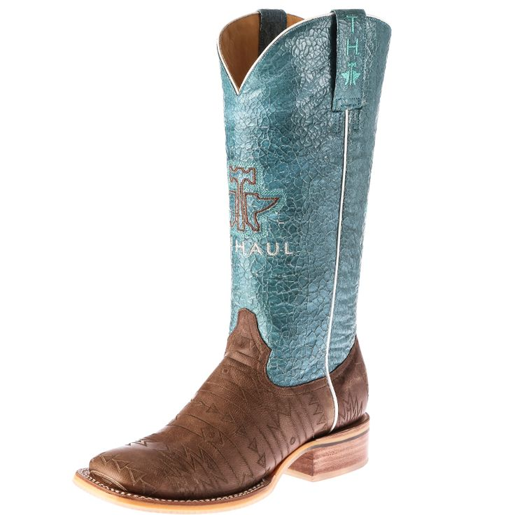 Women's Tin Haul Aztec Crackle Turquoise Top Cowgirl Boots Item # 14-021-0007-1218