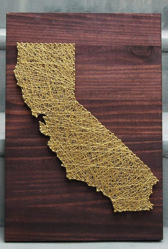 Oooohhh: Idea, Nails Art, States String, Diy Gifts, String Art, California Crafts, U.S. States, Diy Projects, Art Projects