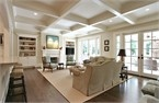 Awesome ceiling: Ceilings Beams, Living Rooms, Idea, Red Oak, French Doors, Family Rooms, Families Rooms Design, Benjamin Moore, Traditional Families Rooms