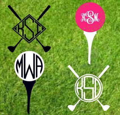 Golf Decal Golf Tee Golf Club Decal Monogram Custom