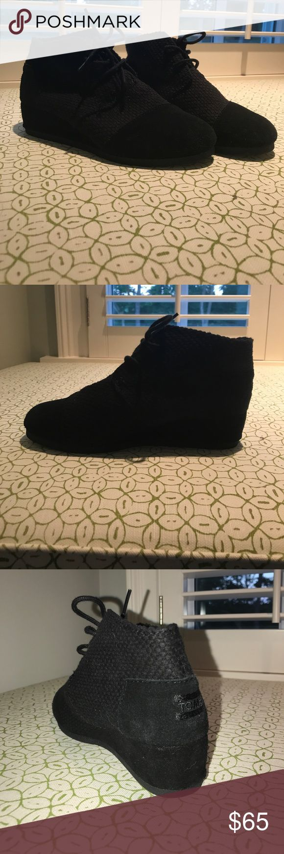 Toms wedge booties Great shape very clean and barely used! Size EU 36 black booties with a very low wedge. Super comfortable sold for $70. TOMS Shoes Ankle Boots & Booties