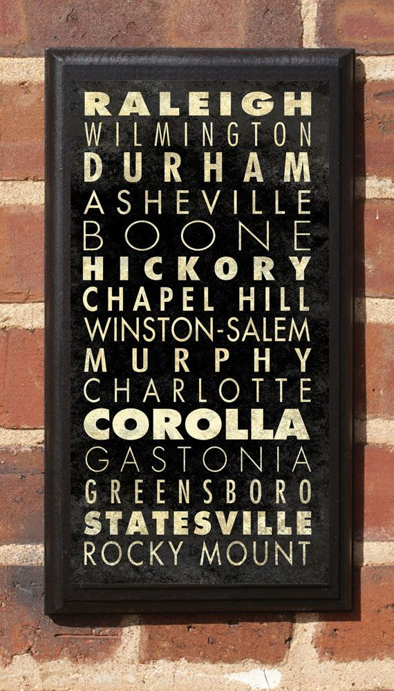 For when I move to NC: Cities of North Carolina Subway Scroll Vintage Style Wall Plaque. $27.00, via Etsy.
