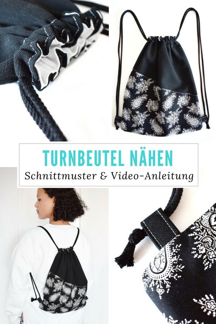 """Turnbeutel nähen für Erwachsene mit Schnittmuster und Video-Anleitung. DIY MODE """"Afeni"""""""