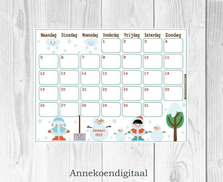 Januari 2015 kalender printable