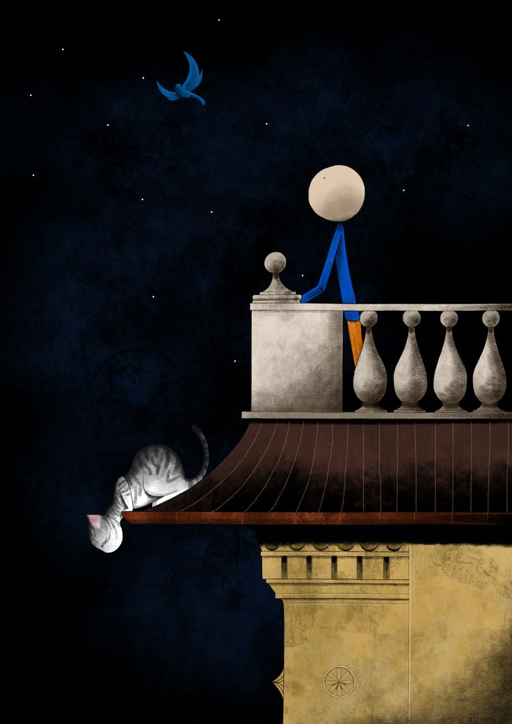 Mauro Falcioni ~ The Paper-Cat Illustrations || Quando si vuol bene ~ «Cosa dicevi a proposito delle stelle?»