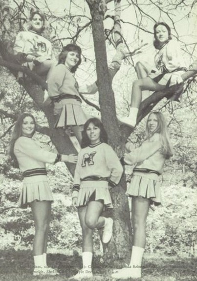 The 1977 JV cheerleaders at Marion High School Yearbook in Marion, Illinois.
