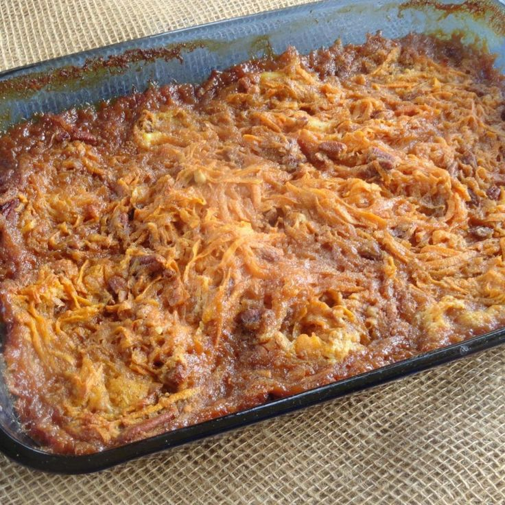 This recipe calls for grated sweet potatoes. A food processor could also be used for the potatoes.Excellent as a Holiday side dish. Try it out this Thanksgiving and let me know what you think.