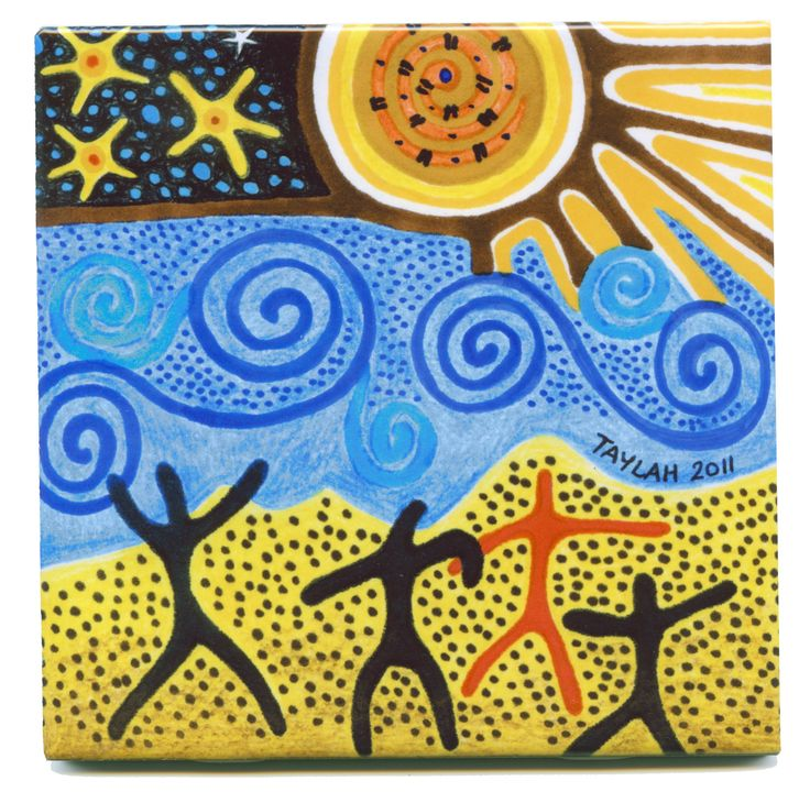 Create a #Ceramic #Tile using aboriginal art. Beautiful item to decorate your home