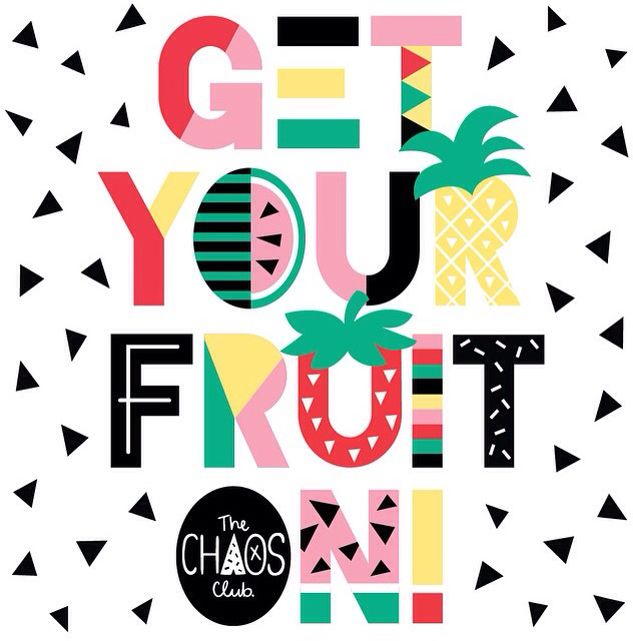 Everybody in the club getting fruity! Print by The Chaos Club.
