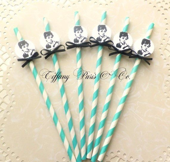 Tiffany and Co. Audrey Hepburn party straws by PrettyPaperPalace, $4.95