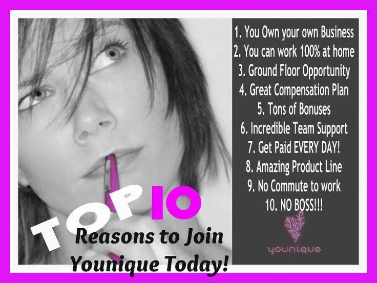 """Top 10 reasons to join Younique!!! or start by having a Younique on-line Party and earn FREE Younique Products. Younique all natural mineral makeup. Shop 24/7 at Kathy's Day Spa! Younique Make-up, Try it, you will love it! Welcome to the """"On-line Make-up Spa Party""""!   Join my Team and have your own Make-up party business. So many ways to sell and earn residual  income!! https://www.youniqueproducts.com/JenniferClassen"""