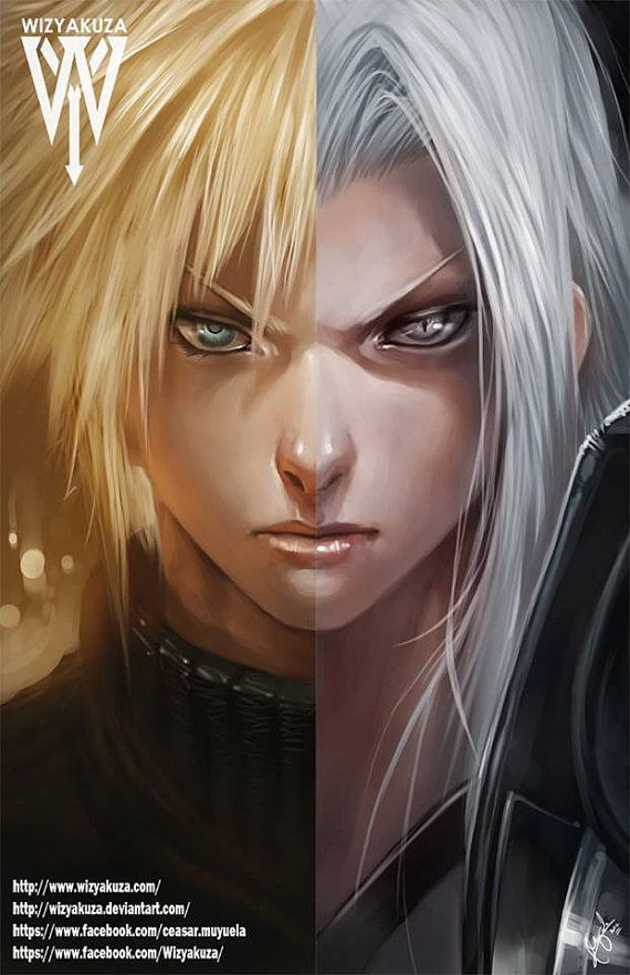 Cloud Strife & Sephiroth  Final Fantasy VII Split  11 by Wizyakuza