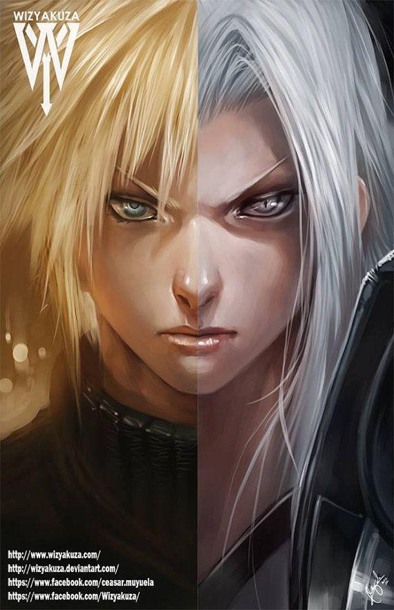 Cloud Strife & Sephiroth  Final Fantasy VII Split  11 by Wizyakuza