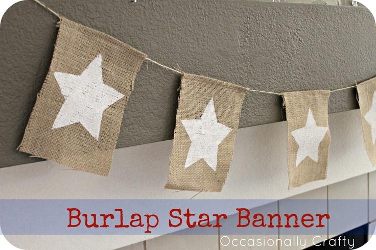 Occasionally Crafty: Burlap Star Banner