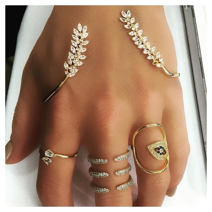 More is better  #ALEXMIKA Leaf Palm Cuff Rosie Claudette & Evil Eye Round #Rings  alexmikajewelry.com