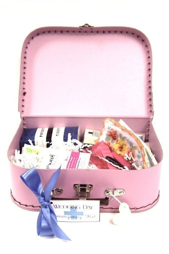 """Make a """"Wedding Day Emergency Kit"""" as a Bachelorette Gift for the Bride-to-be and place in a cute piece of luggage, cosmetics bag, or new purse!"""