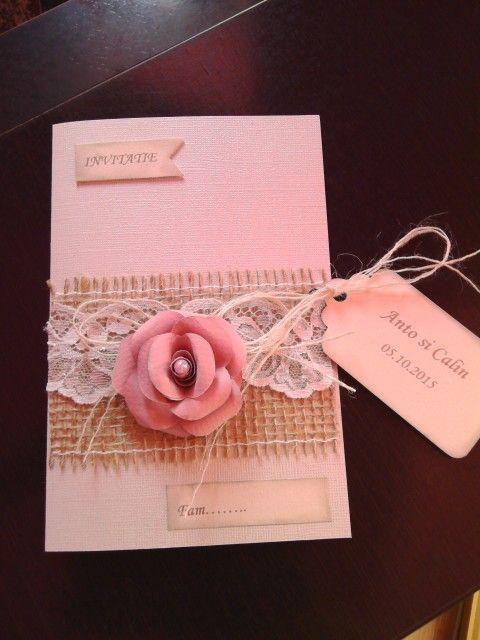 Invitatie de nunta unice lucrate manual, vizitati facebook:ulianahandmade.
