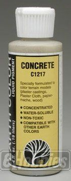 C1217 Earth Color Concrete 4 oz by Woodland Scenics. Save 13 Off!. $6.49. For use with your scale model railroad. Woodland Scenics Paint. Use the concrete liquid pigment to color rocks, terrain, and plaster castings. It's water soluble and can be diluted and blended in limitless combinations. Extremely concentrated for economical usage and available in four ounce bottles.