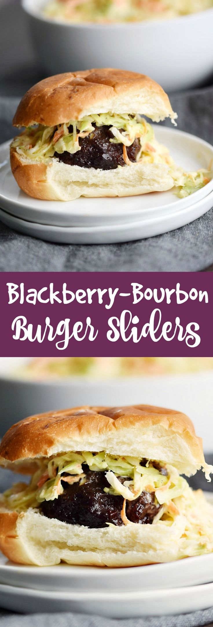 Blackberry-Bourbon Burger Sliders topped with Creamy Coleslaw are guaranteed to become a party guest favorite at your next party! #appetizers #holidayfood #partyfood #gameday via @cookwithcurls