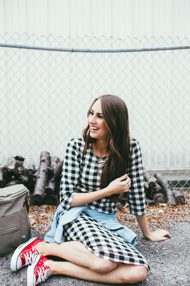 Women Fashion idea-checked dress with converse