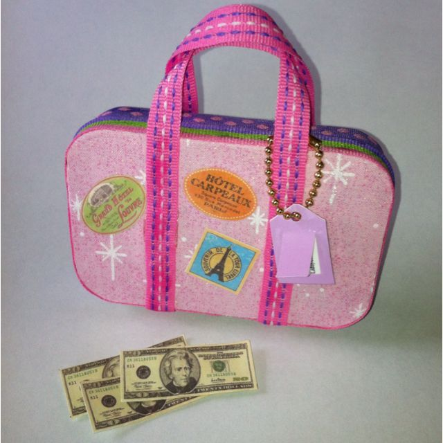 American Girl doll suitcase made from Altoids tin, complete with luggage tag and spending money. Got the idea for the suitcase from someone else on Pinterest! Thanks! By Carol D.