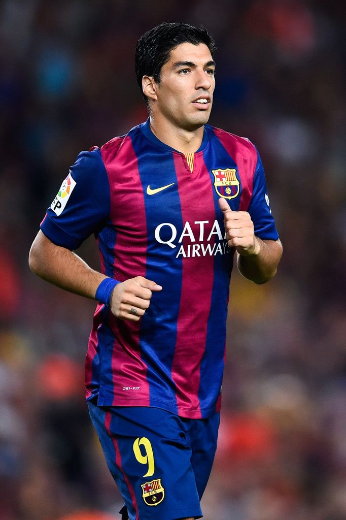 Luis Suarez of FC Barcelona looks on during the Joan Gamper Trophy match between FC Barcelona and Club Leon at Camp Nou on August 18, 2014 in Barcelona, Catalonia.
