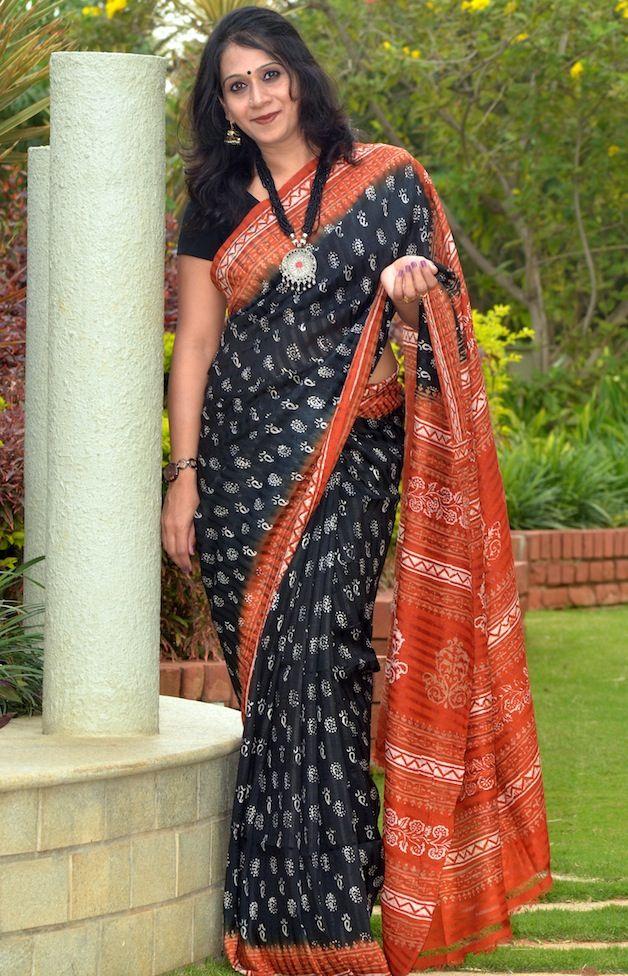 Matka Silk Hand Block Printed Saree