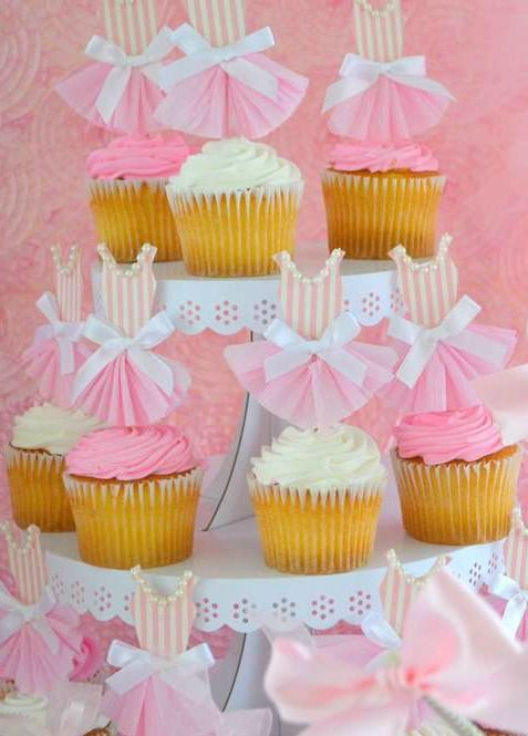 Ballet Baby Shower Party cupcakes! See more party planning ideas at CatchMyParty.com!