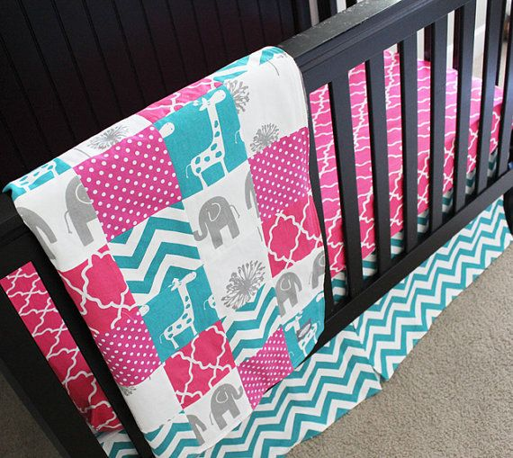 Hey, I found this really awesome Etsy listing at https://www.etsy.com/listing/186343305/custom-crib-bedding-hot-pink-turquoise