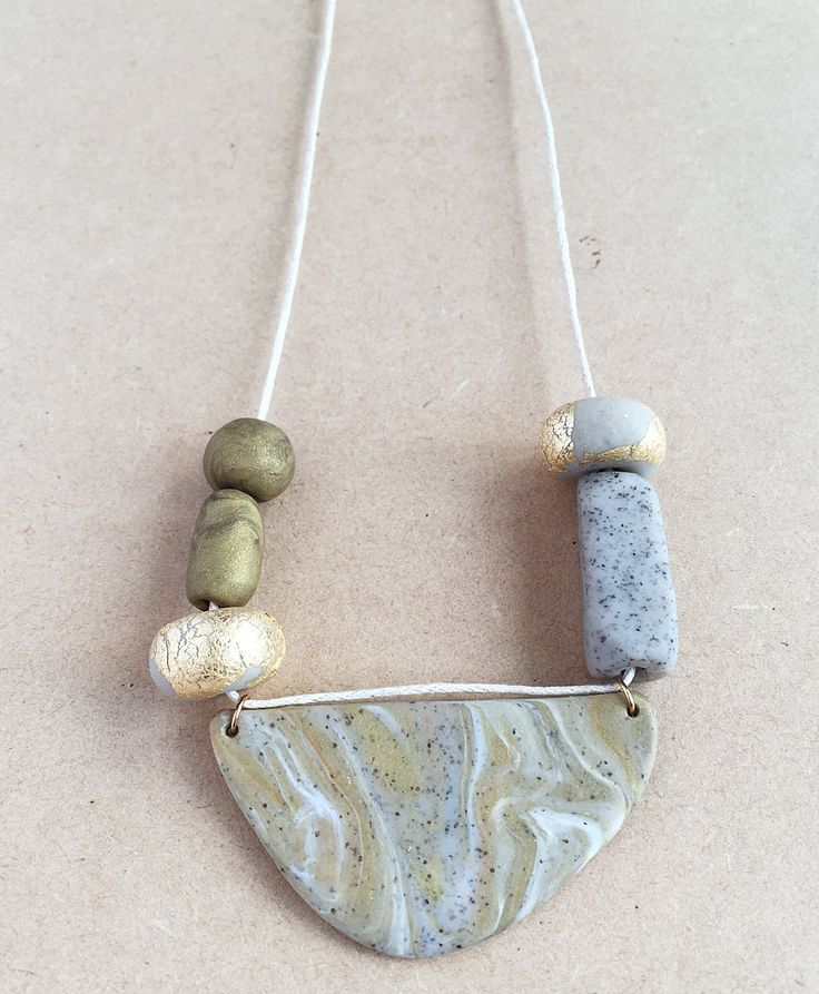 GEORGIA - 6 Bead Polymer Clay Necklace by HenandSole on Etsy
