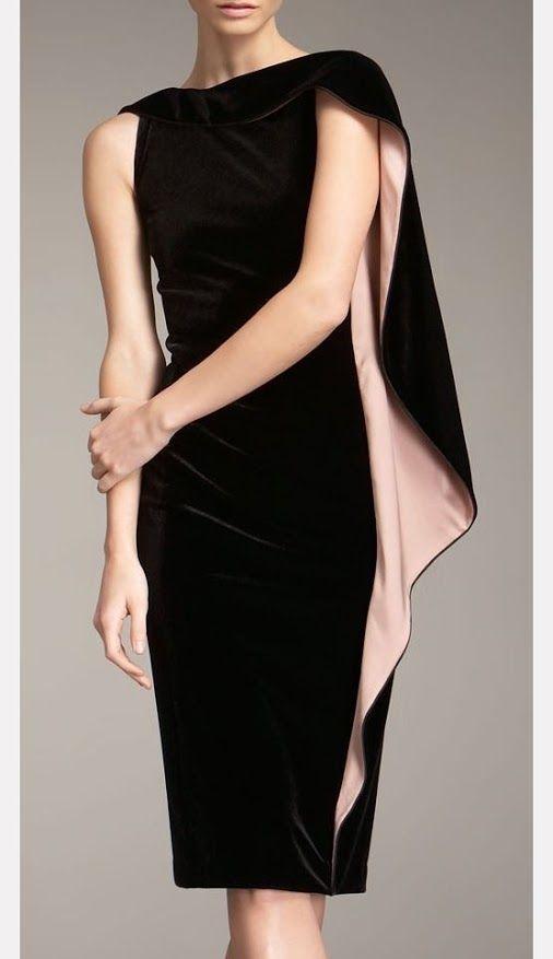 Black Velvet Dress with Pink Side Volant