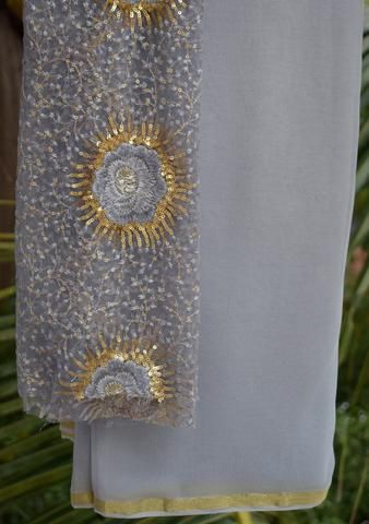 Grey saree with embroidered blouse piece