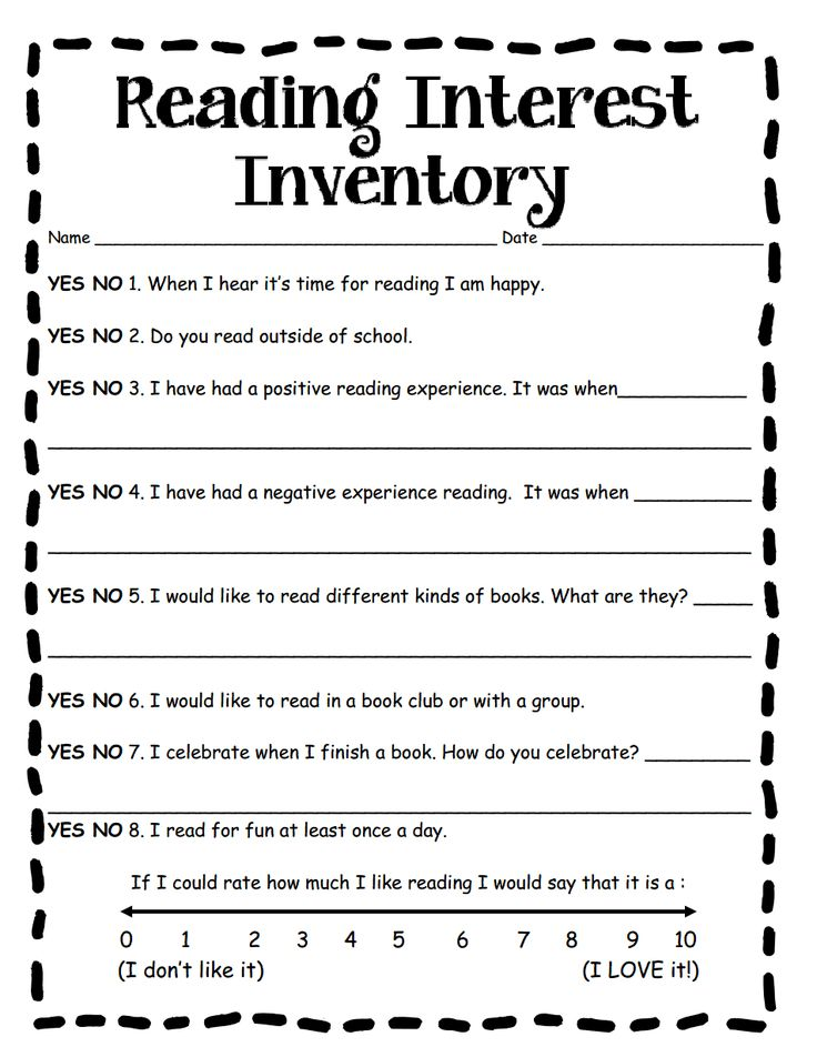 Best Reading Interest Inventory Images On   Interest
