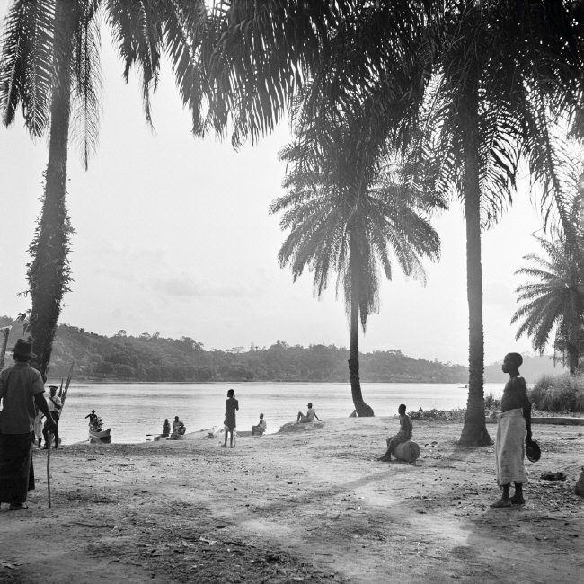 FRENCH GABON. (Now known as Gabon). Lambarene. Dr Albert Schweitzer. The waterfront of Dr. Schweitzer's hospital on the Ogowe river, four miles from Lambarene. Most patients arrive by dug-out canoe. 1951