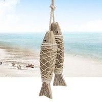 DÉCORATIONS DE PLAGE Wish | 2pcs Hand Carved Hanging Marine Coastal Wooden Fish Wall Sculptures DIY Home Room Nautical Decor