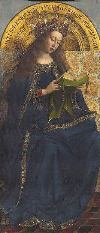 https://ic.pics.livejournal.com/agritura/16089606/2356199/2356199_900.jpg Гентский алтарь Яна ван Эйка. Мария слева от Бога изображена в синем одеянии, традиционного для нее цвета, однако это не скромные одежды небогатой жительницы Вифлиема: кант усыпан драгоценными камнями, а на голове ее роскошная корона, украшенная лилиями и ландышами (символы Марии) – ван Эйк написал ее в образе Царицы Небесной.
