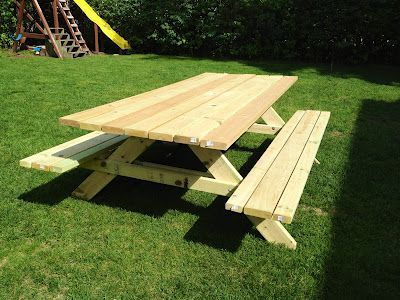 DIY picnic table - only 45 degree angles to cut and great for a first timer!