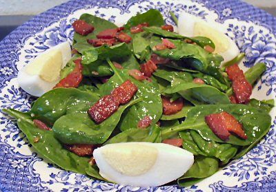 WILTED SPINACH SALAD WITH WARM BACON DRESSING - Linda's Low Carb Menus & Recipes