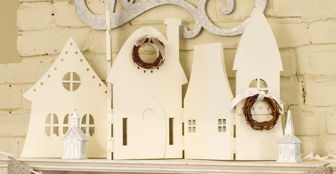 pretty: Christmas Crafts, Christmas Decoration, Accordion House, Crafts Idea, Christmas Idea, Pretty House, Paper House, Christmas Trees, White House